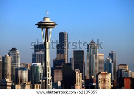 Seattle Skyline at sunset, Washington state. - stock photo