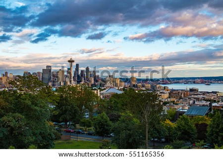 Seattle skyline in Washington state seen from Kerry Park