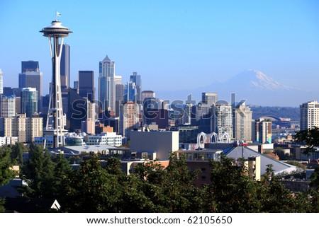Seattle skyline & Mt. Rainier, Washington state. - stock photo