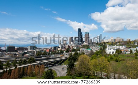 Seattle Skyline on Sunny Day  Facing Puget Sound