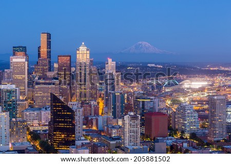 Seattle skyline panorama at sunset  - stock photo