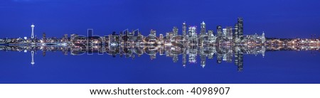 Seattle skyline panoramic and reflection at twilight - stock photo