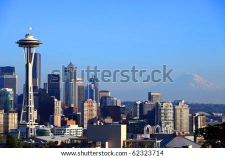 Seattle skyline portraits, WA. state. - stock photo