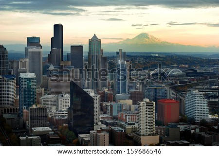 Seattle Skyline View with Mount Ranier in background - stock photo