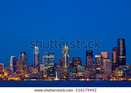 Seattle Skyline, Washington as seen from Alki Beach - stock photo