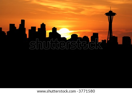 Seattle skyline with close up of sunset - stock photo