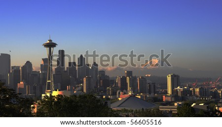 Seattle Skyline with Mt Rainier in the distance - stock photo