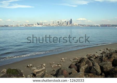 Seattle skyscrapers from Alki Beach - stock photo