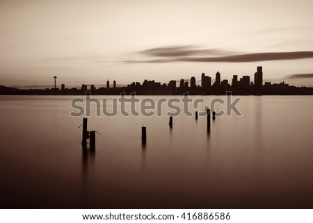 Seattle sunrise skyline silhouette view with urban office buildings.  - stock photo