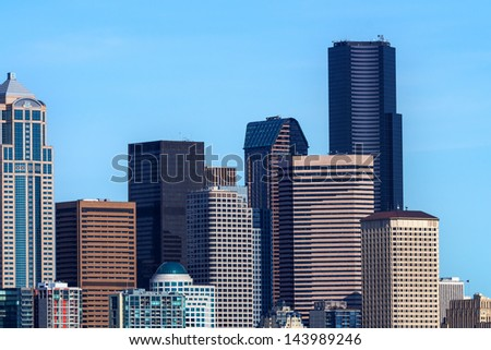 Seattle Towers Cityscape Buildings Skyline Washington