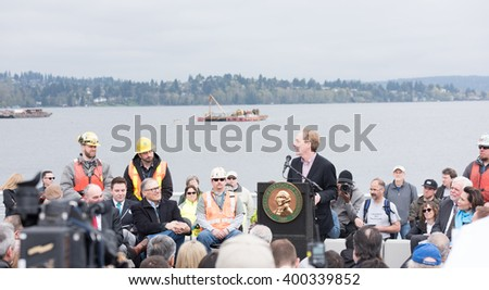 SEATTLE, USA - April 2, 2016: Tens of Thousands of People Came to Celebrate and Walk on the New State Route 520, Longest Floating Bridge in the World. Grand Opening Ceremony. Guinness World Records. - stock photo