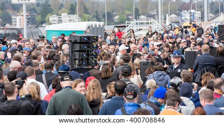 SEATTLE, USA - April 2, 2016: Tens of Thousands of People Came to Celebrate and Walk on the New State Route 520, Longest Floating Bridge in the World. Grand Opening Ceremony. Guinness World Records.