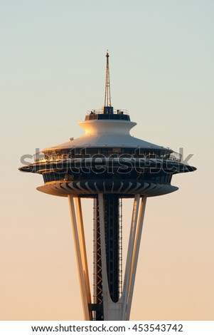 SEATTLE, WA - AUG 14: Space Needle closeup on August 14, 2015 in Seattle. Seattle is the largest city in both the State of Washington and the Pacific Northwest region of North America - stock photo