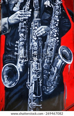 SEATTLE, WA.__CIRCA  MARCH 21, 2015.__Saxophone mural displayed on a wall outside. circa March 2015 in Seattle, Wa. - stock photo