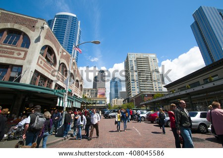 SEATTLE, WA -  MAY 22 : Downtown Seattle, a mixture of commercial and increasing residential real estate, public markets Seattle, Washington,USA, 22 May 2010