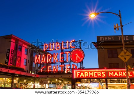 Seattle, Washington, USA - March 1, 2015_Public Market in Seattle. It is one of the oldest continually operated public farmers' markets in the United States.