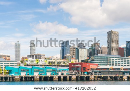 seattle water front on sunny day,Seattle,Washington,usa.   for editorial use only. -04/26/16.