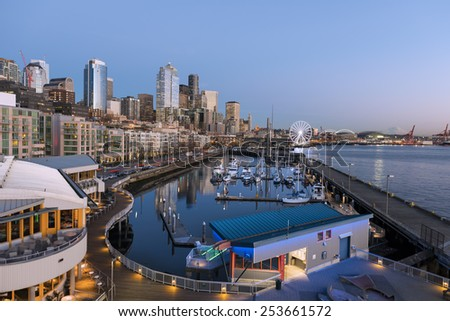 Seattle Waterfront. February, 17 2015 - Seattle, WA USA. Waterfront is the most popular tourism attraction in Seattle.