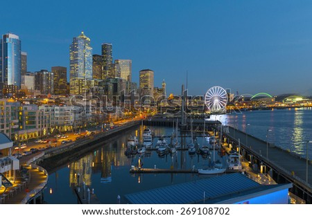 Seattle Waterfront. Seattle, WA USA - February, 17 2015.Waterfront is the most popular tourism attraction in Seattle, WA. - stock photo