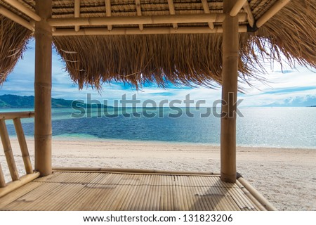 Seaview from bamboo hut on beach on Gili Air island, off Bali in Indonesia - stock photo