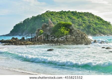 Seaview & island at Promthep Cape at Phuket, southern Thailand Sunset with wonderful twilight at Phromthep Cape, Rawai, Promthep Cape the attractions of Phuket, view point, landmark. Thailand  - stock photo