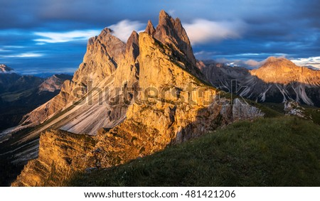 seceda mountain at sunset in Italy, beautiful natural landscape