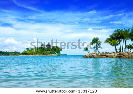 Secluded lagoon with beautiful sky in the tropics - stock photo