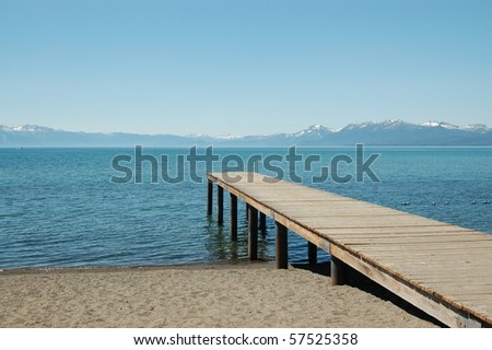 Secluded Pier off Lake Tahoe - stock photo