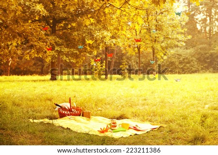 Secluded romantic place to stay in the autumn forest - stock photo
