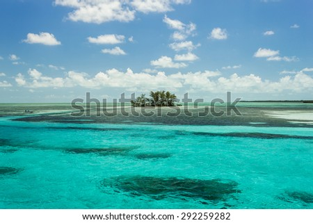 Secluded small tropical island in the Bahamas - stock photo