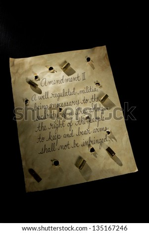 Second amendments with bullet holes - stock photo