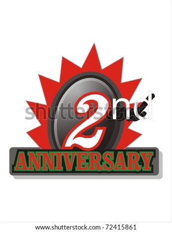 Second Anniversary logo - stock photo