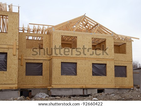 Second floor and roof of a new house during construction