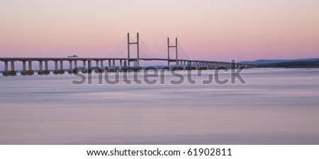 Second Severn Crossing at Dawn - stock photo