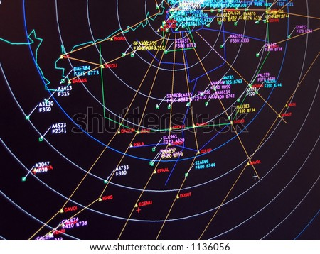 Secondary Surveillance Radar Situation screen display - stock photo