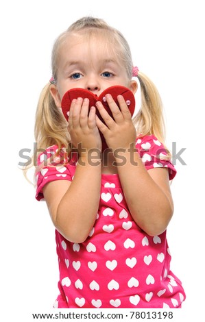 secret admirer is hiding behind valentine heart in studio, isolated on white