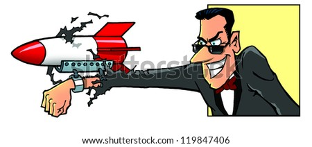 Secret agent an his weapon - stock photo
