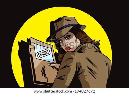 Secret agent with plans - stock photo