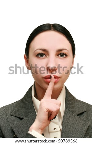 secret. beautiful girl with his finger near the lips - stock photo