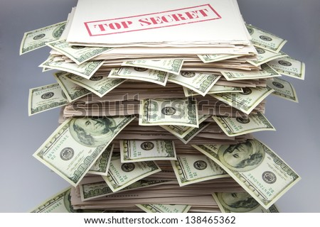 secret documents with tickets of dollars - stock photo