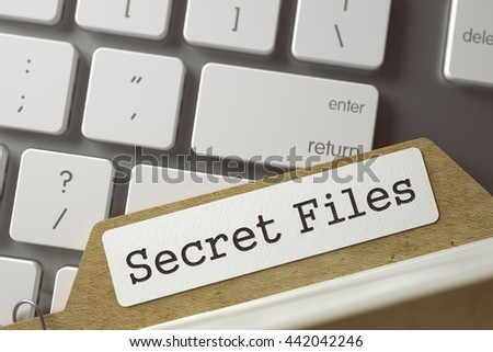 Secret Files written on  Card File on Background of Computer Keyboard. Archive Concept. Closeup View. Selective Focus. Toned Illustration. 3D Rendering. - stock photo