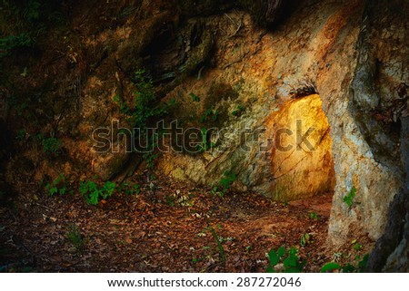 secret stone cave in dark forest - stock photo