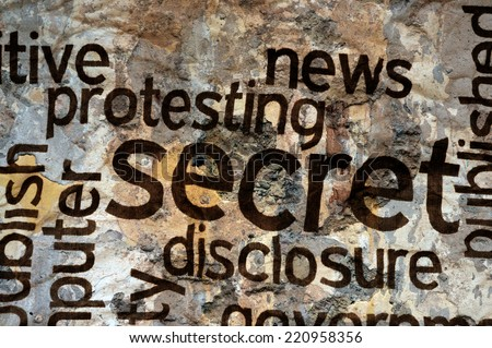 Secret text on grunge background - stock photo