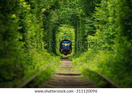 secret train 'tunnel of love' - stock photo