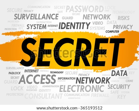 SECRET word cloud, business concept - stock photo