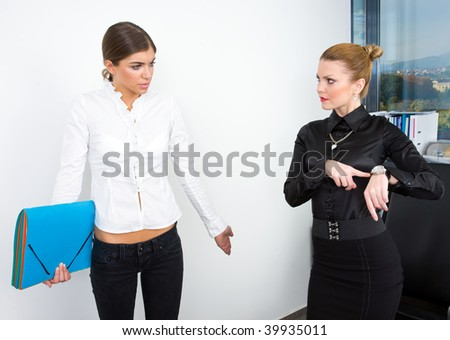 secretary apologize that she is late - stock photo