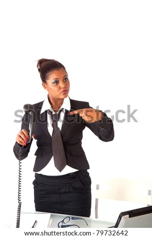 secretary asks her manager to come on the phone