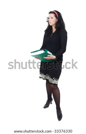 secretary lady with file over white