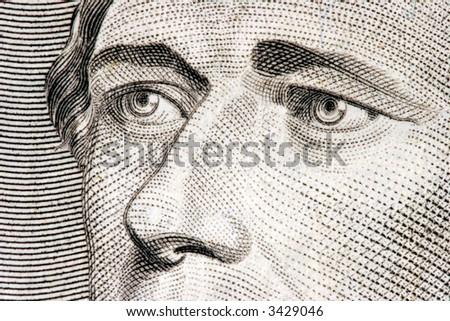 Secretary of the Treasury Alexander Hamilton close up from 10 dollar bill - stock photo