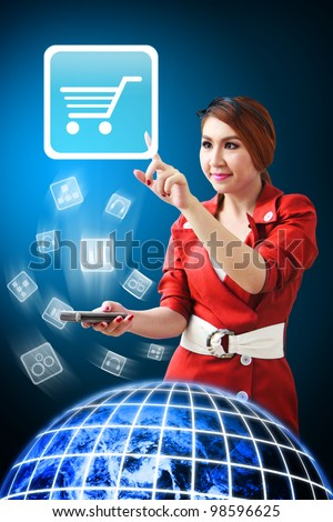 Secretary touch the Cart icon from mobile phone : Elements of this image furnished by NASA
